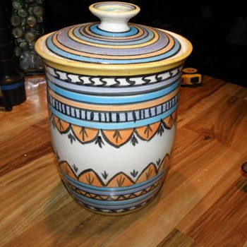 "HAND PAINTED POTTERY WITH LID MARKED ""LYDIA"" NATIVE AMERICAN ?"