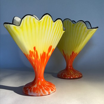 Pair of Welz Stripes and Spots Fan Vases - Art Glass