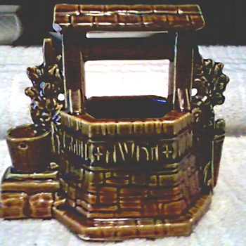 Worse for Wear Wishing Well Planter/ Marked McCoy /Circa 1950's