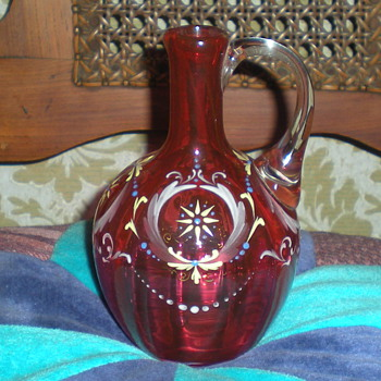 Moser optical enamelled pitcher.