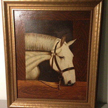 Early Folk Art Painting signed by J.A. Davis - Folk Art
