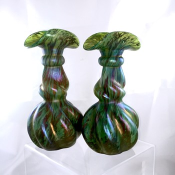Kralik Moss Agate Rolled Lobed Green Iridized Pair Vases  - Art Glass
