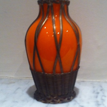 Metal cased Czech orange tango vase - information or links welcome