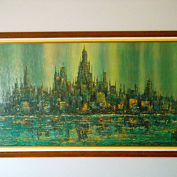 Brittini Sofa Print Abstract Cityscape - Mid-Century Modern