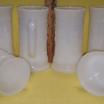 Set of 6 Embossed Milk Glass Stein/Mugs