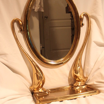 Antique Brass Swans Swivel Mirror & Tray