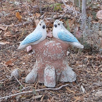 Concrete Birds on a Concrete Stump - Animals