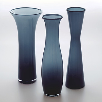 Three dark blue-grey vase models - Ingegerd Råman, Orrefors 2000s first decade.