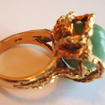Gold Ring 14K from auction, Maybe Jade - Fine Jewelry