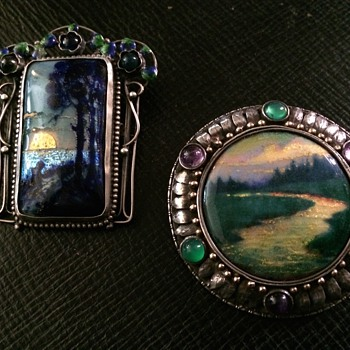 Arts & Crafts Enamel Landscape Brooches - Hunt & Varley - Arts and Crafts