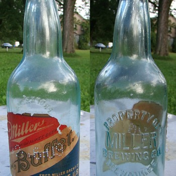 PRE POHIBITION MILLER BUFFET EMBOSSED PAPER LABEL BEER BOTTLE