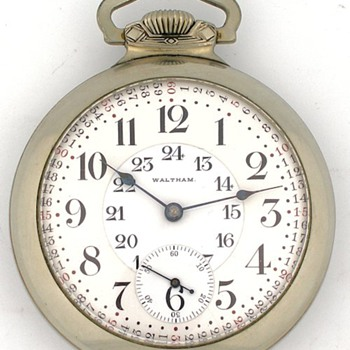 18s 23J Waltham Vangaurd Pocket Watch w/ 24 Hour Dial - Pocket Watches
