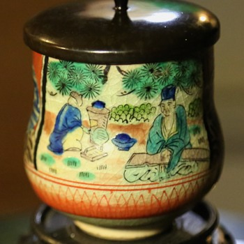 Jiu Gu signed Kutani Cup with a Laquerware Top - Pottery