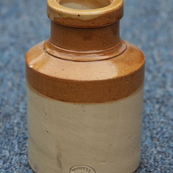 ---Civil War Tan and White Mustard Jar---