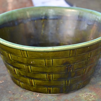Large Green Bowl with Basket-weave Design - Art Pottery