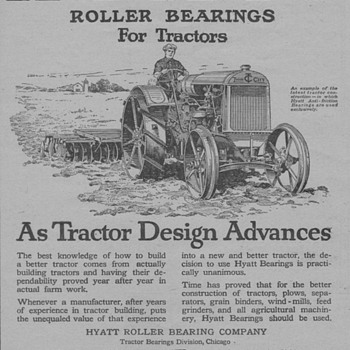 1919 Hyatt Roller Bearings Advertisement - Advertising