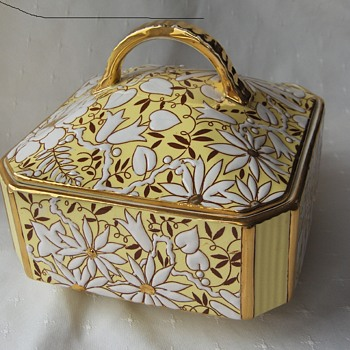 Boch Freres Yellow White Floral 1930s Art Deco Faience Cracker Box