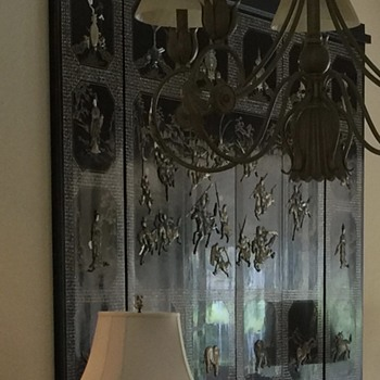 Asian black laquer wall art with jade, pearl?
