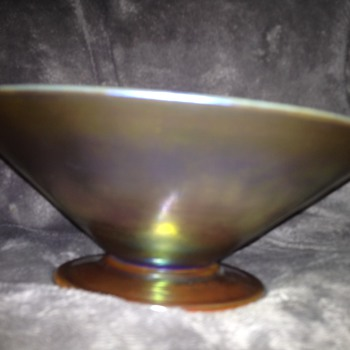 Signed LCT (Tiffany) Favrile Glass Compote  - Art Glass