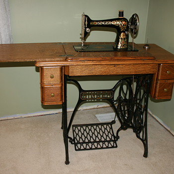 "Singer ""Red Eye"" Treadle Sewing Machine - Sewing"