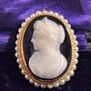 Vintage Deco F&F Felger Hardstone Cameo Seed Pearl 14k Pendant Brooch