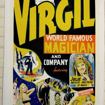 Original &quot;Virgil World Famous Magician&quot; Lithograph Poster