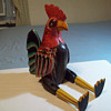 VINTAGE LARGE WOODEN ROOSTER PUPPET / STATUE WITH FLEXIBLE JOINTS 21&#039;inches tall