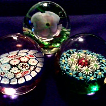 "Three Glass Paperweights / 2 With Original Murano ""Fratelli Toso"" Foil Labels 1 Unknown / Circa 1950-60"