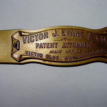 Brass letter opener - Victor J. Evans &amp; Co. 