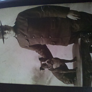 WWI soldier with pet Pit Bull  RPPC