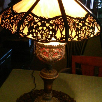 Royal or Noble Family Commissioned? 1800's Victorian Argand Oil Slag Glass Lamp Converted To Electric? - Lamps
