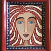 Folk Art Painting of Girl with Star Spangled Banner in her Hair by Amy Jordan
