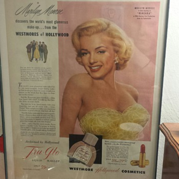 1952 MARILYN MONROE - TRU-GLO MAKE-UP WESTMORE HOLLYWOOD COSMETICS - Posters and Prints