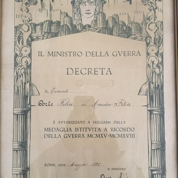 Signed by Mussolini WWI Diploma
