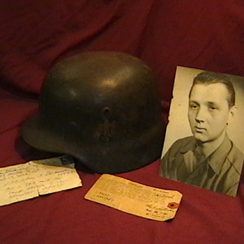 WW II German Helmet with Capture Tag, Photo, and Letter