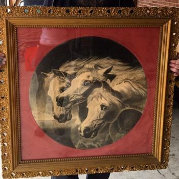 "Original antique/Victorian ""the Pharao's Horses"" drawing - Victorian Era"