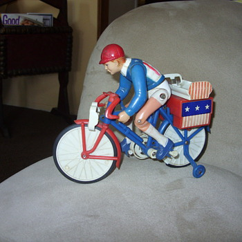 vintage battery operated bicycle racer - Toys