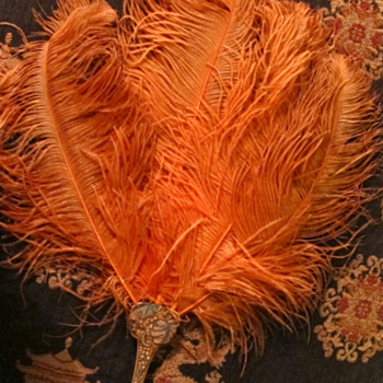 Belle Epoque ? Exquisite Hand Fan with silk pouch purse orange ostrich feathers