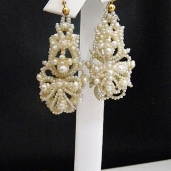 Antique Victorian Seed Pearl Pendant Earrings 15k