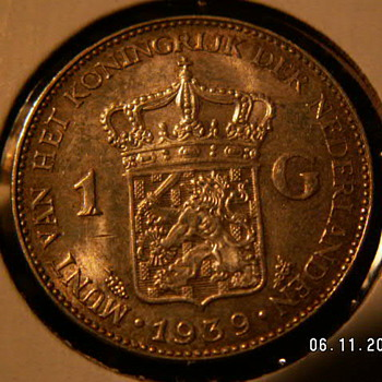 1939 Nederlanden 1 Gulden Guilder ~Silver - World Coins