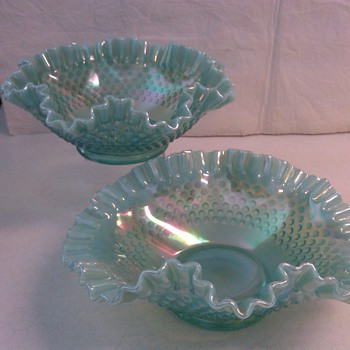 STUNNING &amp; VERY LARGE FENTON BLUE OPALESCENT CARNIVAL HOBNAIL BOWLS