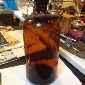Brown cork jug with wire handle unknown year?? - Bottles