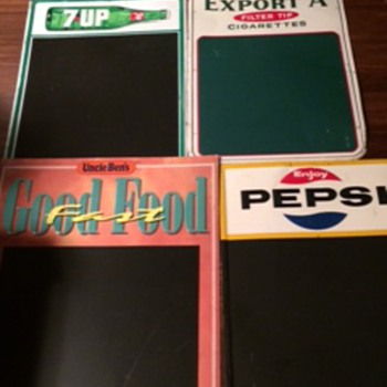 VINTAGE CHALKBOARDS ALL METAL Pepsi/7-Up/Export A/Uncle Ben's - Advertising