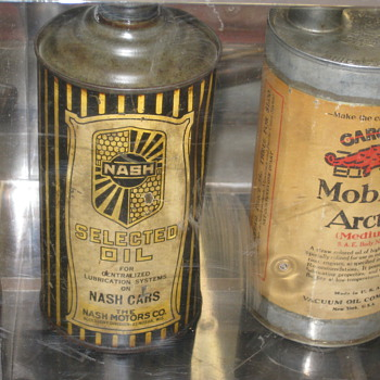 Antique oil cans