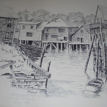 Kennebunkport,  Maine  /  Vinalhaven, Maine Etchings Phil S. Phillbrook - Posters and Prints
