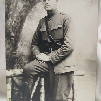 "WWI U.S. Army Officer 1st Infantry division with ""wound stripe"" RPPC - Military and Wartime"