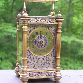 Blue Enameled French Carriage Clock - Clocks