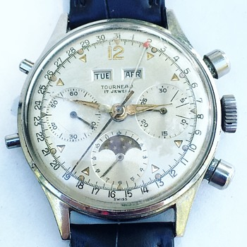 Vintage TOURNEAU Watch Co. Swiss Chronograph Wrist Watch