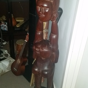 TRIBAL WOOD CARVED MONKEY STATUE - Folk Art