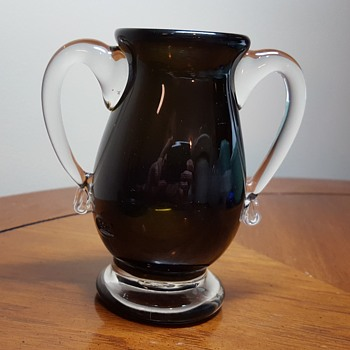 Olive Green Small Glass Urn Vase - Art Glass